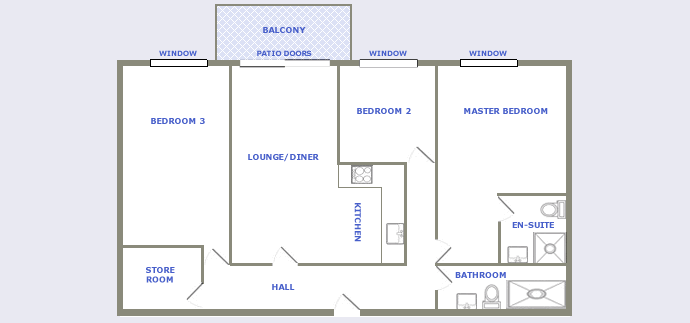 typical three bedroom apartment plan